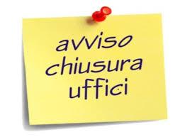 CHIUSURA STRAORDINARIA FRONT OFFICE UFFICIO TECNICO SETTIMANA 7-11 SETTEMBRE 2020