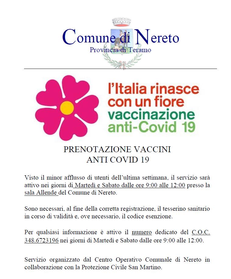 servizio assistenza prenotazione vaccino COVID 19